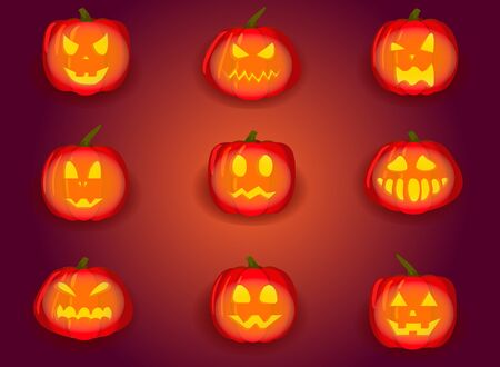 Set of pumpkin isolated on white background. Symbol of the Halloween holiday. Vector illustration.