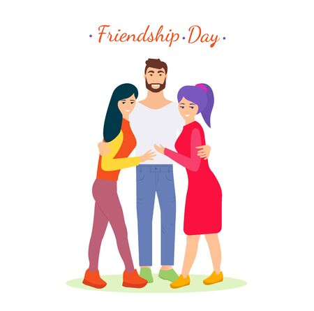 Friendship day illustration. Vector friends people