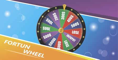 Fortune wheel, Realistic roulette design for lottery, casino games. Ilustracja