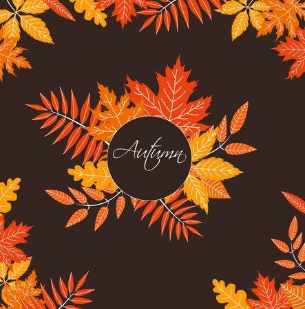 Autumn background with fallen leaves. Vector banner Archivio Fotografico - 129262756