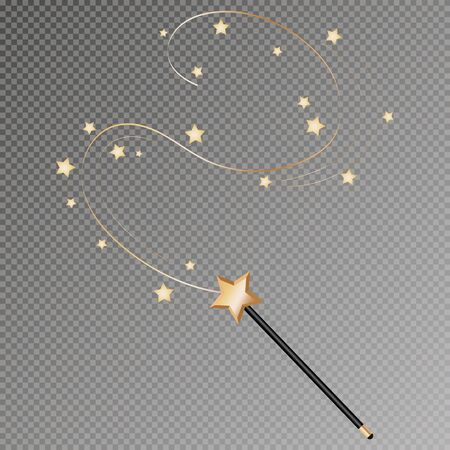 Vector illustration of magic wand. Isolated on black transparent background