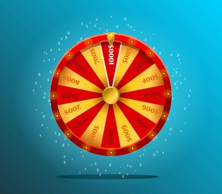 Glücksrad, realistisches Roulette-Design für Lotterie, Casinospiele.