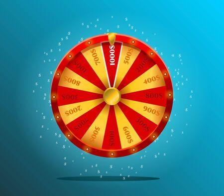 Ruota della fortuna, design realistico della roulette per lotteria, giochi da casinò.