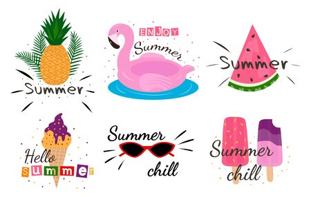 Summer lettering pop art set with holiday Elements. Bright summertime poster.