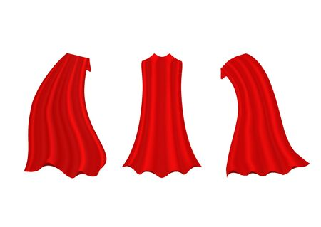Red hero cape. Realistic fabric scarlet cloak or magic vampire cover. Vector set isolated on transparent background. Çizim