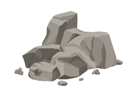 Rock stone big set cartoon. Stones and rocks in isometric 3d flat style. Set of different boulders. Stock fotó - 129262714