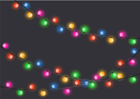 Christmas lights. Glowing lights for Xmas Holiday cards, banners, posters, web design. Christmas garland.  イラスト・ベクター素材