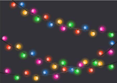 Christmas lights. Glowing lights for Xmas Holiday cards, banners, posters, web design. Christmas garland. Иллюстрация