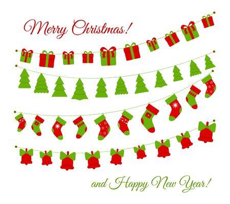 Christmas flag garlands set isolated on white background. Vector illustration
