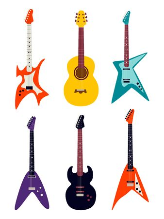 Guitar set. Acoustic guitar, electric guitar on white background. String musical instruments. Banque d'images - 129262660