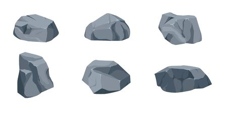 Rock stone big set cartoon. Stones and rocks in isometric 3d flat style. Set of different boulders. Cobblestones of various shapes. Ilustracja