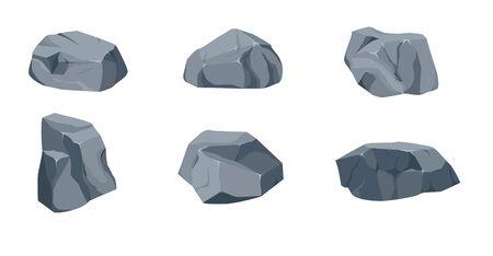 Rock stone big set cartoon. Stones and rocks in isometric 3d flat style. Set of different boulders. Cobblestones of various shapes. Illusztráció