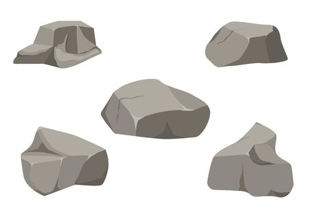 Rock stone big set cartoon. Stones and rocks in isometric 3d flat style. Set of different boulders. Stock fotó - 129262666