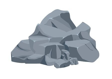 Rock stone big set cartoon. Stones and rocks in isometric 3d flat style. Set of different boulders.