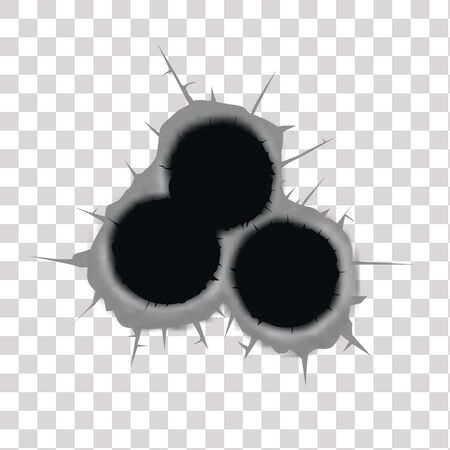 Bullet holes vector illustration on isolated on  transparent background. Illustration