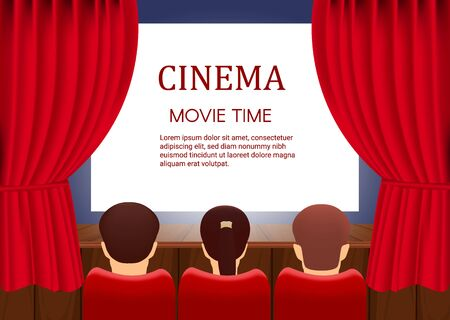 Rows of red cinema  seats in front of transparent background. Vector template banner for show with seats, popcorn, tickets.  イラスト・ベクター素材
