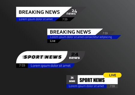 Tv news bars. Breaking news template banner. Vector illustration Фото со стока - 129262642