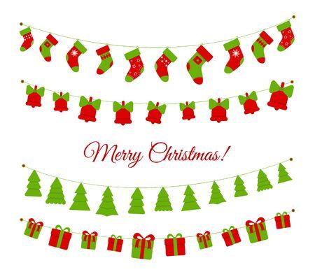 Weihnachtsflaggengirlandensatz lokalisiert auf weißem Hintergrund. Vektor-Illustration Vektorgrafik
