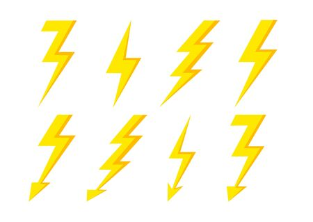 Thunder Bolt Lighting Flash Icon isolated on white background. Storm icon. Vector lightning