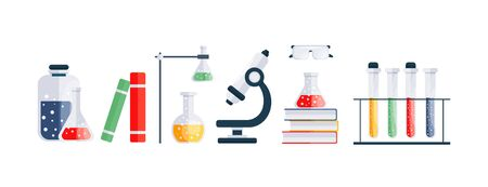 Set of chemistry icons. Science vector illustration.