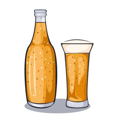 Craft beer calligraphy design and minimal flat vector illustration of different types of beers. Beer glass, mug, bottle Oktoberfest. Vector illustration eps 10.