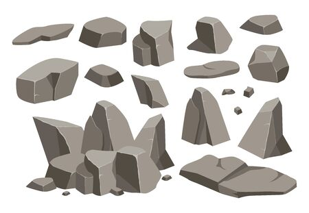 Rock stone big set cartoon. Stones and rocks in isometric 3d flat style. Set of different boulders. Cobblestones of various shapes. Stock fotó - 129262623