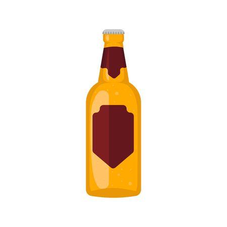 Beer glass, mug, bottle. Craft beer calligraphy design and minimal flat vector illustration of different types of beers. Oktoberfest .