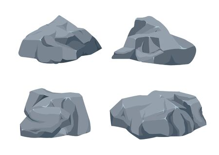 Rock stone big set cartoon. Stones and rocks in isometric 3d flat style. Set of different boulders. Stock fotó - 129262587