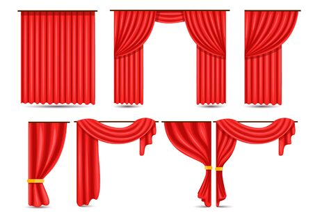 Set of red luxury silk velvet curtains and draperies open and closed, decorative cords and tassels isolated on background.
