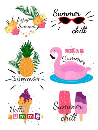 Summer lettering pop art set with holiday Elements. Bright summertime poster. Flamingo, watermelon, ice cream, pineapple, palm, tropic, sun. Фото со стока - 129262595