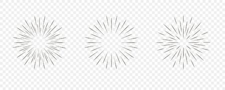 Star burst, sun burst sunshine. Radiating from the center of thin beams, lines.