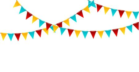 Carnival garland with flags. Decorative colorful party pennants for birthday celebration, festival and fair. Design elements for decoration of greetings cards, invitations. Ilustracja