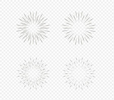 Star burst, sun burst sunshine. Radiating from the center of thin beams, lines. Design element for logo, signs. Vector illustration