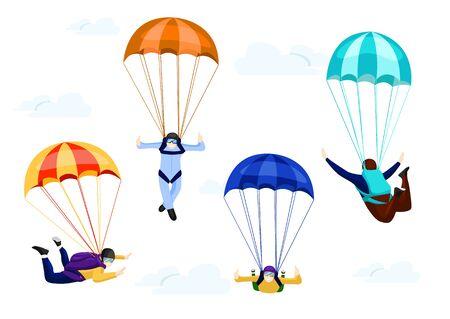 Flacher Vektorsatz von professionellen Fallschirmspringern. Fliegen mit Fallschirmen, Extremfallschirmsport und Fallschirmspringen Konzept Vektor Illustrationen auf weißem Hintergrund