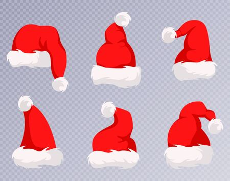 Christmas Santa Claus Hats With Fur Set. New Year Red Hat. Ilustracja