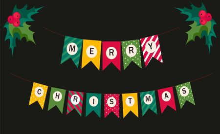 Festive bunting flags with letters Merry Christmas in traditional colors for your decoration. Merry Christmas.