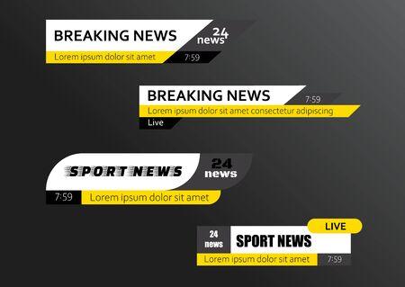 Tv news bars. Breaking news template banner. Vector illustration