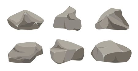 Rock stone big set cartoon. Stones and rocks in isometric 3d flat style. Set of different boulders. Stock fotó - 129262578