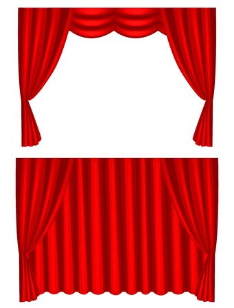 Luxury scarlet red silk velvet curtains and draperies interior decoration design ideas realistic collection. Иллюстрация