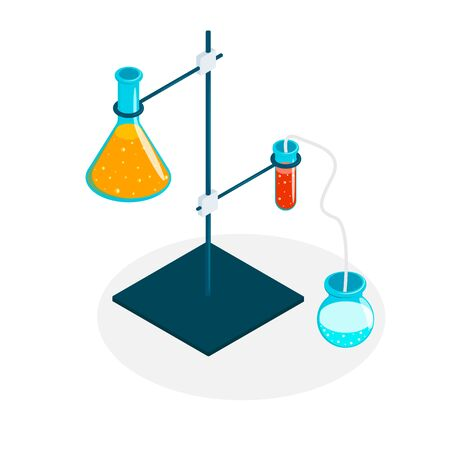 Medical Laboratory. set of laboratory equipment for science experiments vector illustration. Illustration