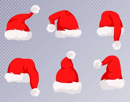 Christmas Santa Claus Hats With Fur Set. New Year Red Hat Isolated on White Background. Ilustracja