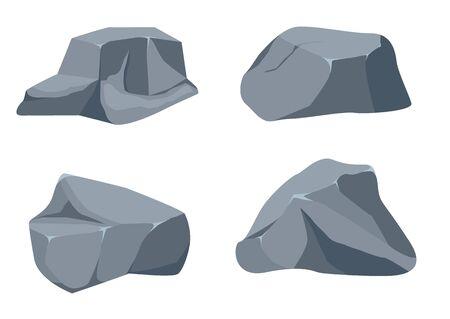 Rock stone big set cartoon. Stones and rocks in isometric 3d flat style. Ilustracja