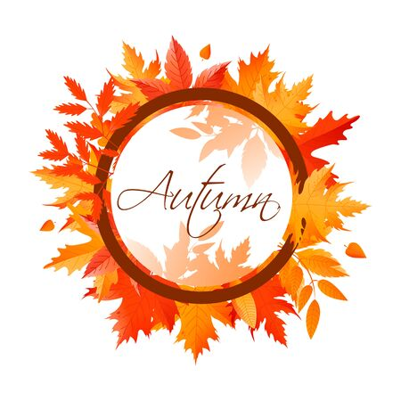 Bright autumn banner made of leaves.