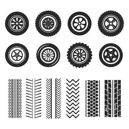 Les pneus de voiture et les traces de chenilles vectorisent des icônes isolées du motif de la bande de roulement des pneus.
