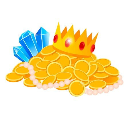 Set Treasure, gold, coins, jewels, crown, sword, vector, isolated, cartoon style, for games, apps, white background Illusztráció