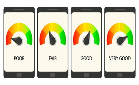 Collection smartphones with credit score app on the screen in flat style. Financial information about the client.