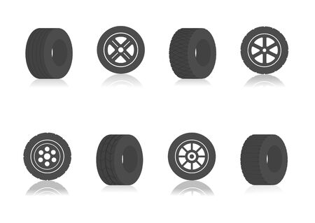 Car wheels icon template color editable. Wheels symbol vector sign isolated on white background. Stock Illustratie