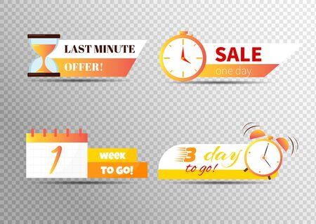 Sale countdown badges. Last minute offer banner, one day sales and 24 hour sale promo stickers. business limited special promotions. Isolated vector icons set Фото со стока - 129713114