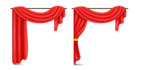 Set of red luxury silk velvet curtains and draperies open and closed, decorative cords and tassels isolated on background. Textile drape, decor elements for theater and cinema posters