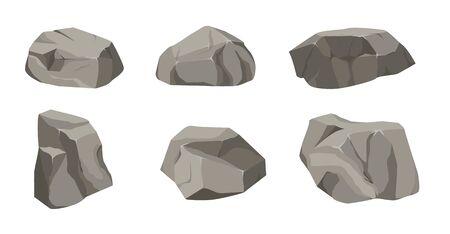 Caricature de grand ensemble de pierre de roche. Pierres et rochers dans un style plat 3d isométrique. Ensemble de rochers différents.